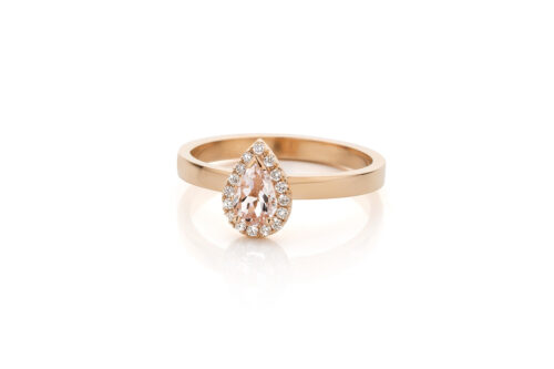 Ring in 18kt rosé goud met een morganite en diamant